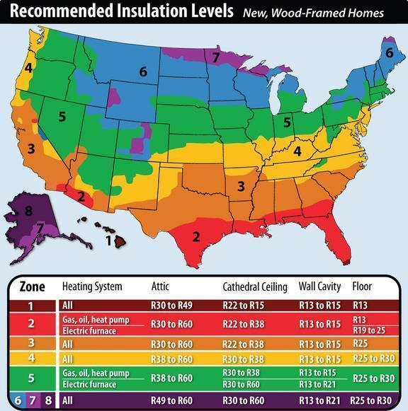 New York Recommended Home Insulation R Values Zone 4